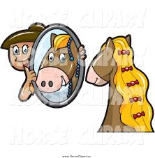 child looking in mirror clipart. horse groomer holding up a mirror child looking in clipart