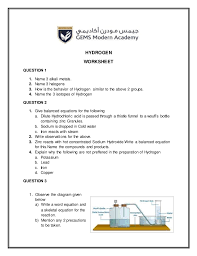 worksheet on hydrogen great for students of 8 and 9 and 10th grade