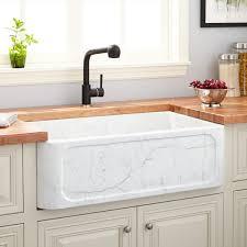 Bathroom Apron Sink 33 Polished Marble Farmhouse Sink Recessed Apron Carrara