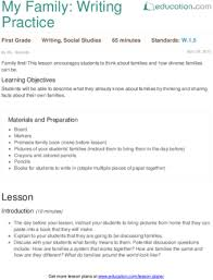 my family writing practice lesson plan com