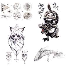 1pc Roar Dragon Geometric Cat Waterproof Tattoo Sticker Women Body Arm Art Black Temporary Tattoo Men Sketch Small Tatoos Men