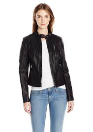 levi s women s faux leather fashion quilted racer jacket