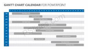 Gantt Chart Calendar For Powerpoint Pslides