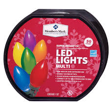 member s mark super bright led christmas lights multi colored 50 count c9 walmart