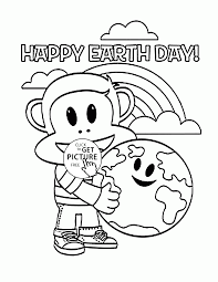 Happy Monkey And Earth Earth Day Coloring Page For Kids Coloring