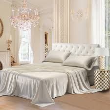 satin luxury bedding sheet set ivory colour scent sation new york