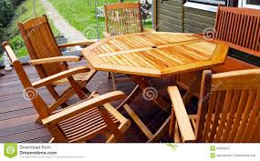 wood patio furniture freshly oiled