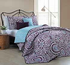 Amazon.com: Geneva Home Fashion 5 Piece Leona Quilt Set, King ... & Geneva Home Fashion 5 Piece Leona Quilt Set, King, Plum Adamdwight.com