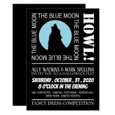 Halloween Invitations Cards The Blue Moon Halloween Party Invitation Zazzle Com