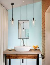 double pendant modern bathroom lighting above sink vessel and framed mirror in minimalist bathroom ideas bathroom lighting ideas double vanity modern