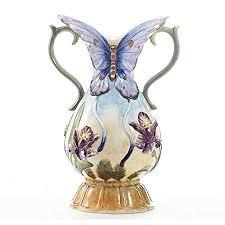 nby Butterfly Embossed <b>Ceramic</b> Flower <b>Vase Hydroponics</b> Dry ...