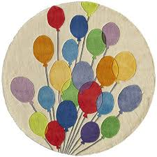 5 round multi colored balloons area rug whimsy