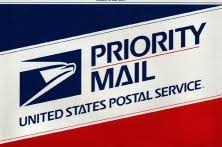 USPS Priority Mail Home. Image of the profile of an eagle's head adjoining the words United States Postal Service and Priority Mail are the three elements that combine to form the corporate signature.