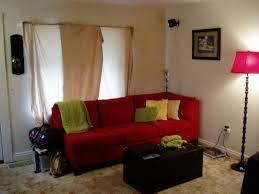 Red Living Room Decor Amazing Design Ideas Using L Shaped Brown Leather Couches And