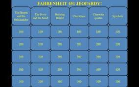 fahrenheit 451 by ray bradbury jeopardy powerpoint game
