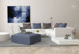 Living Room Ottomans Interior Of Modern Living Room With Sofa Ottoman And Artwork