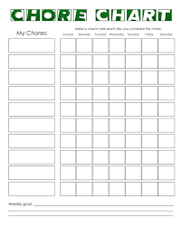 Free Downloadable Chore Chart Templates Weekly Chore Chart Template Business