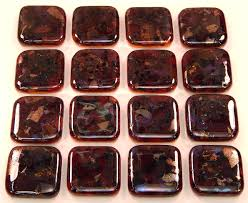 Decorative Kitchen Hardware Fused Glass Knobs Browns Mix Black On Burnt Orange Iridescent