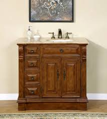 38 inch travertine top bathroom vanity cabinet single sink on the right 0904tr