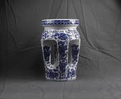 vintage chinese garden stool blue
