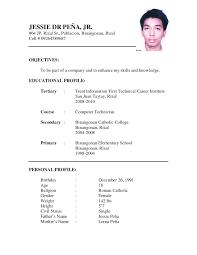 Simple Sample Resume Resume Simple Resume Format Sample