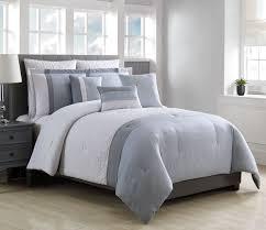 8 piece ally blue gray white comforter set queen