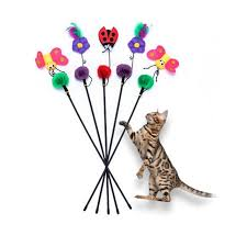 colorful cat toy wire feather plush tease sticks wand cartoon flower erfly ladybug pet cat toys