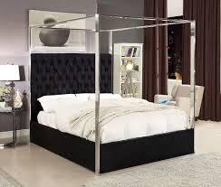 Porter Upholstered Platform Canopy Bed (Black) by Meridian Furniture ...