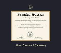 custom diploma frames certificate frames framing success  union institute university diploma frame black and gold double mat and gold embossing approximate frame size 17 x 19 inches