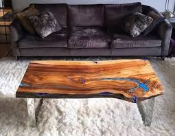 live edge coffee table with glowing