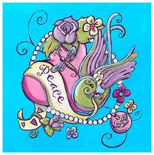 Tattoo - Heart - <b>Turquoise</b>, Floral <b>Canvas Wall Art</b> | Oopsy daisy