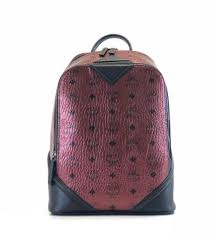 mcm duke small monogram metallic scooter red leather backpack bag