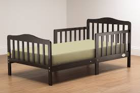 Simple Dark Espresso Mahogany Wood Toddler Bed With Rails And  Overstuffed Mattress As Well As Solid