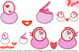 Machine Applique Designs Kawaii Faces Applique Designs For Embroidery Machine Instant