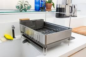 also great for a lot of dishes simplehuman steel frame dishrack with wine glass holder