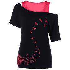 dandelion printed cut out shoulder t shirt