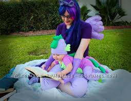 and cute mom and baby costume twilight sparkle and baby spike the dragon