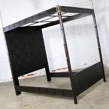 Details about Canopy Asian Influenced Campaign Style Faux Bamboo Queen Bed Henredon