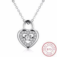 whole heart lock shape pave cubic zirconia 925 sterling silver necklaces pendants fashion party jewelry for women collares locket pendant necklace