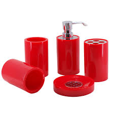 Modern Bathroom Accessories Red Bathroom Set Of Five Pieces