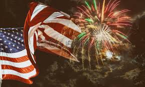Stock Photo American Flag And Fireworks With Night Sky Beautiful In The Full Moon
