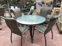 out of stock 4 seater wave rattan round table