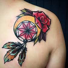 Beautiful Dream Catcher Tattoos Collection of 100 Rose Dream Catcher Tattoo On Right Shoulder Back 82