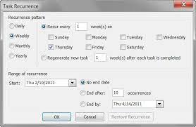 using recurring tasks in outlook