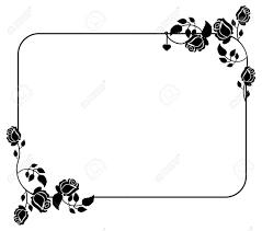 バラのシルエットと水平黒と白のフレームベクター クリップ アート