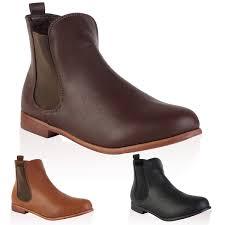 1k womens faux leather las chelsea flat low winter ankle boots