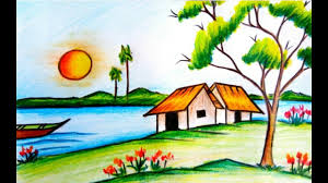 scenery drawing pencil colour how to draw a beautiful village