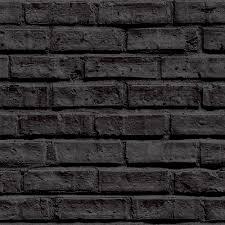 Arthouse Vip Black Brick Wall Pattern Fau Stone Effect Motif Mural  Wallpaper P Image ...