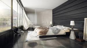 Master Bedroom With Bathroom For Minimalist Bedroom Be Equipped Black Tile  Flooring And Rug Under Bed Also Sliding Windows And Black Wall Designs