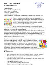Class Newsletter Year 1 Class Newsletter 7th November 2018 Nelson Infant School